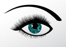 Futuristisk teknologi datoriserat öga Arkivbild