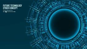 Futuristisk teknologianslutningsstruktur abstrakt bakgrundsvektor Blått elektroniskt nätverk Elektroniska data förbinder royaltyfri illustrationer