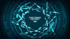 Futuristisk teknologianslutningsstruktur abstrakt bakgrundsvektor Framtida Cyberbegrepp Hög hastighetsDigital design royaltyfri illustrationer