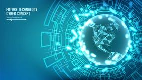 Futuristisk teknologianslutningsstruktur Abstrakt cyberspacebakgrund för vektor Framtida Cyberbegrepp royaltyfri illustrationer