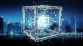Futuristisk tolkning för objekt 3D för kub teknologi texturerad Royaltyfria Bilder