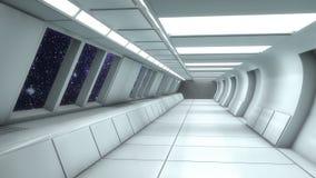 Futuristisk tom inre korridor stock illustrationer