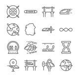 Futuristisk trans.linje symbolsuppsättning Inklusive utbildar kretsar rusar symbolerna som hyper, acceleration och mer Royaltyfri Fotografi