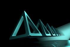Futuristisk triangelformmetall Arkivfoto