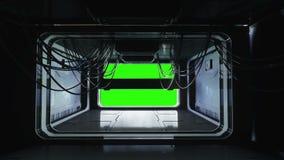 Futuristisk utrymmekorridor, tunnel flygsikt Grön skärmlängd i fot räknat Filmisk animering 4k