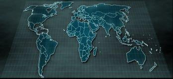 Futuristisk världskarta i digital skärm Arkivfoto