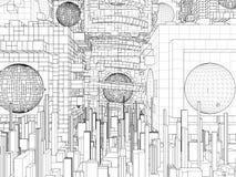 Futuristisk vektor för Megalopolisstadsstruktur Arkivbilder