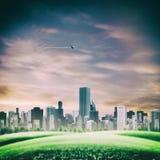 Futuristiska bakgrunder med moderna stads- byggnader Arkivbild