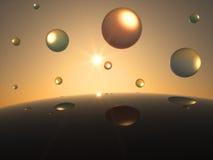 Futuristiska genomskinliga sfärer framme av solen Arkivbild