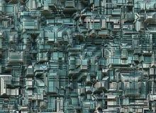 Futuristiska industriella stadsabstrakt begreppbakgrunder Arkivbild