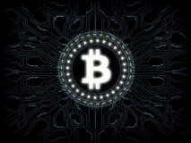 Futuristiska moderna glödande Bitcoin BTC ledde logohologramsvävande över blå scifibakgrund royaltyfri illustrationer