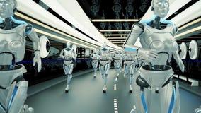 Futuristiska robotar för en humanoid som kör till och med en science fictiontunnel Loopable stock illustrationer