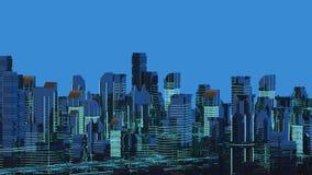 Futuristiska skyskrapor i flödet Flödet av digitala data staden som framtida hus lokaliserade våra bytande ut framställningsspher Royaltyfria Foton
