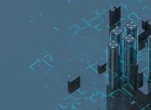 Futuristiska skyskrapor i flödet Flödet av digitala data staden som framtida hus lokaliserade våra bytande ut framställningsspher Royaltyfri Bild