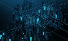 Futuristiska skyskrapor i flödet Flödet av digitala data staden som framtida hus lokaliserade våra bytande ut framställningsspher Arkivbilder