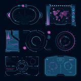 Futuristiska tekniskt avancerade symboler för Techmanöverenhet HUD UI Arkivfoto