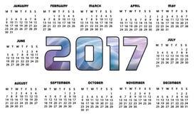 Futuristiskt abstrakt begrepp för kalender 2017 Royaltyfri Bild
