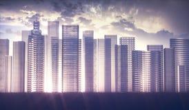 futuristiskt begrepp för stad 3D Arkivfoto