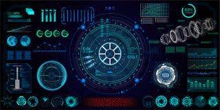 Futuristiskt begrepp HUD, GUI vektor illustrationer
