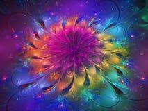 Futuristiskt blommafractalabstrakt begrepp, design, dynamiskt digitalt framför design dekorativ royaltyfria bilder