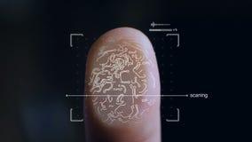 Futuristiskt digitalt bearbeta av en biometric fingeravtryckbildläsare arkivfilmer