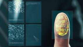 Futuristiskt digitalt bearbeta av fingeravtryck, som mannen rymmer hans hand mot en modern fingeravtryckbildl royaltyfri illustrationer