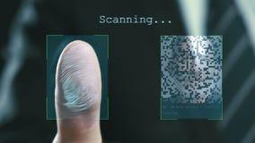 Futuristiskt digitalt bearbeta av fingeravtryck, som mannen rymmer hans hand mot en modern fingeravtryckbildl?sare Futuristiskt d stock illustrationer