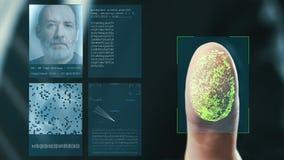 Futuristiskt digitalt bearbeta av fingeravtryck, som mannen rymmer hans hand mot en modern fingeravtryckbildl?sare Futuristiskt d royaltyfri illustrationer