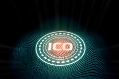 Futuristiskt digitalt glödande initialt mynt som erbjuder ICO royaltyfri illustrationer