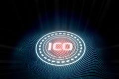 Futuristiskt digitalt glödande initialt mynt som erbjuder ICO med abstrakt binär bakgrund för zero-onetextvåg stock illustrationer