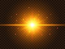 Futuristiskt ljus på genomskinlig bakgrund Den guld- stjärnabristningen med strålar och mousserar Solexponering med strålar och s vektor illustrationer