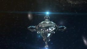 futuristiskt militärt rymdskepp 3D i djupt utrymme royaltyfri illustrationer