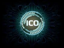 Futuristiskt modernt glödande initialt mynt som erbjuder svävande för ICO-logohologram över blå scifiströmkretsbakgrund stock illustrationer