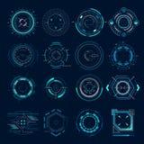 Futuristiskt optiskt syfte Militär collimatorsikt, indikering för område för vapenmålfokus Sikta för hud för prickskyttvapenmål royaltyfri illustrationer
