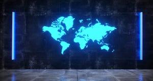 Futuristiskt Sci FI konkret mörkt rum med världskartan på hologram vektor illustrationer