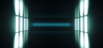 Futuristiskt Sci Fi tomt mörkt rum med reflexion och glödande Li vektor illustrationer