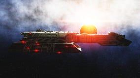 Futuristiskt utrymmeskepp in Sikt för jordplanetwonderfull realistisk yttersida för metall framförande 3d Royaltyfri Fotografi