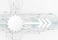 Futuristiskt vektorillustrationabstrakt begrepp, kugghjulhjul på strömkretsbräde Arkivfoto