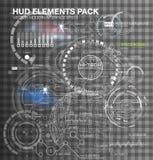 Futuro abstracto, elementos gráficos virtuales futuristas de HUD de la interfaz de usuario del tacto del vector del concepto en f Imagen de archivo libre de regalías