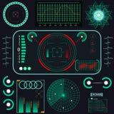 Futuro abstracto, interfaz de usuario gráfica virtual azul futurista HUD del tacto del vector del concepto Para el web, sitio Fotos de archivo libres de regalías