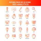 Futuro alaranjado 25 SEO Analytics Icon Set ilustração royalty free