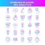 25 Futuro azul e cor-de-rosa SEO Analytics Icon Pack ilustração royalty free