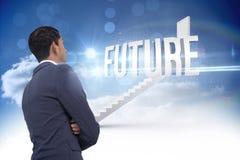 Futuro contra as etapas que conduzem à porta fechado no céu Imagem de Stock