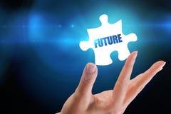 Futuro contra fondo azul con la ilustración Imagenes de archivo