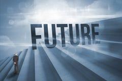 Futuro contra pasos contra el cielo azul Imagen de archivo