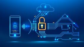 futuro cyber di sicurezza illustrazione di stock