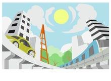 Futuro da cidade junto com a natureza Imagem de Stock Royalty Free