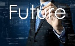 Futuro da escrita do homem de negócios na tela virtual com alguns diagramas no fundo Foto de Stock Royalty Free