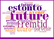 Futuro da nuvem da palavra em línguas diferentes fotografia de stock royalty free