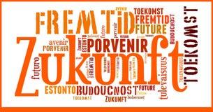 Futuro da nuvem da palavra em línguas diferentes fotografia de stock